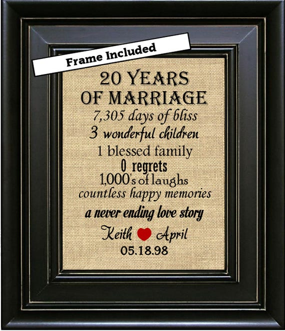 Framed 20th Wedding Anniversary20th Anniversary Gifts20th Etsy