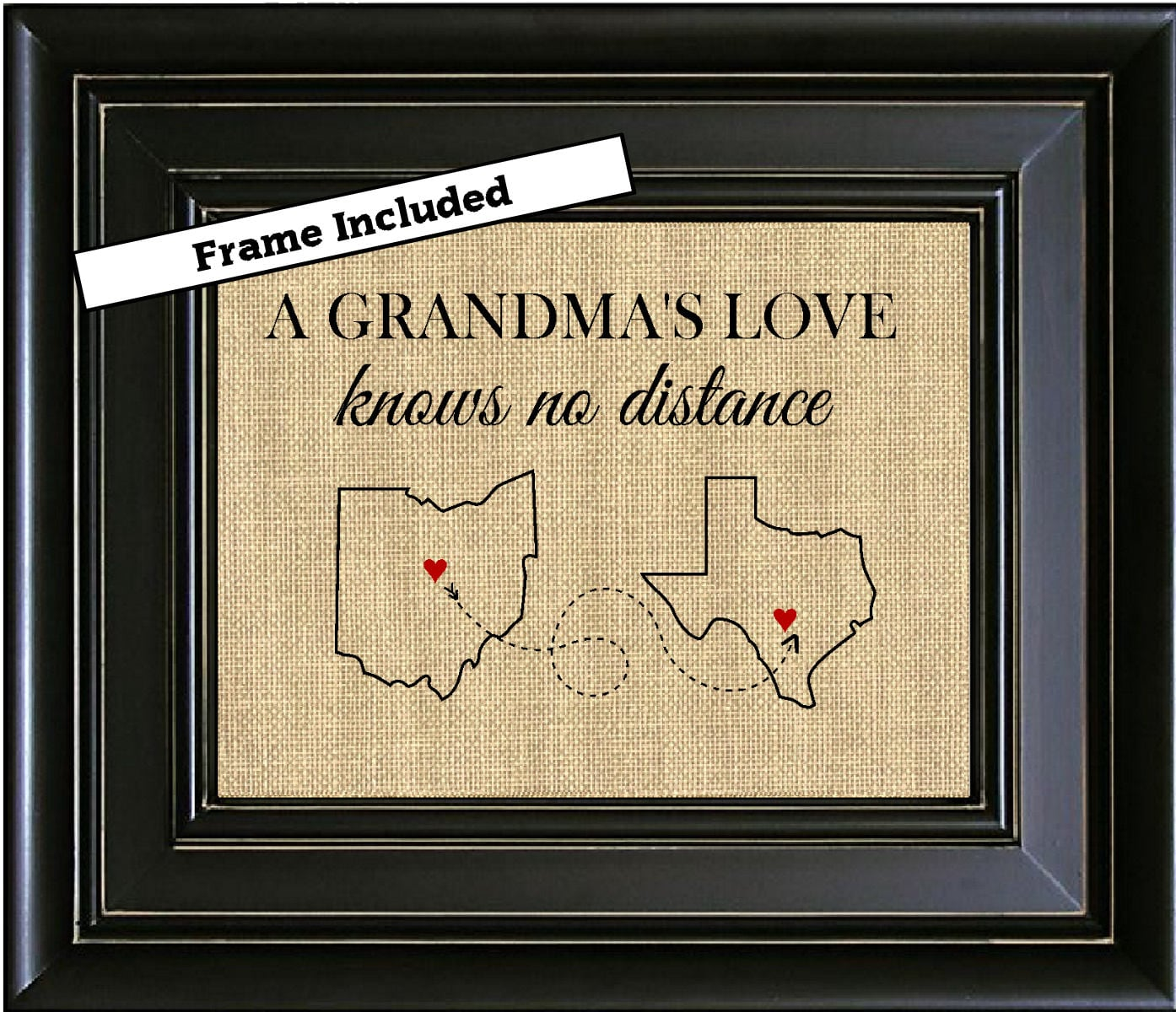 FRAMED Personalized A Grandma\'s Love/Birthday Gift for