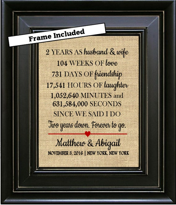 Framed Personalized 2nd Wedding Anniversary Print 2nd Etsy