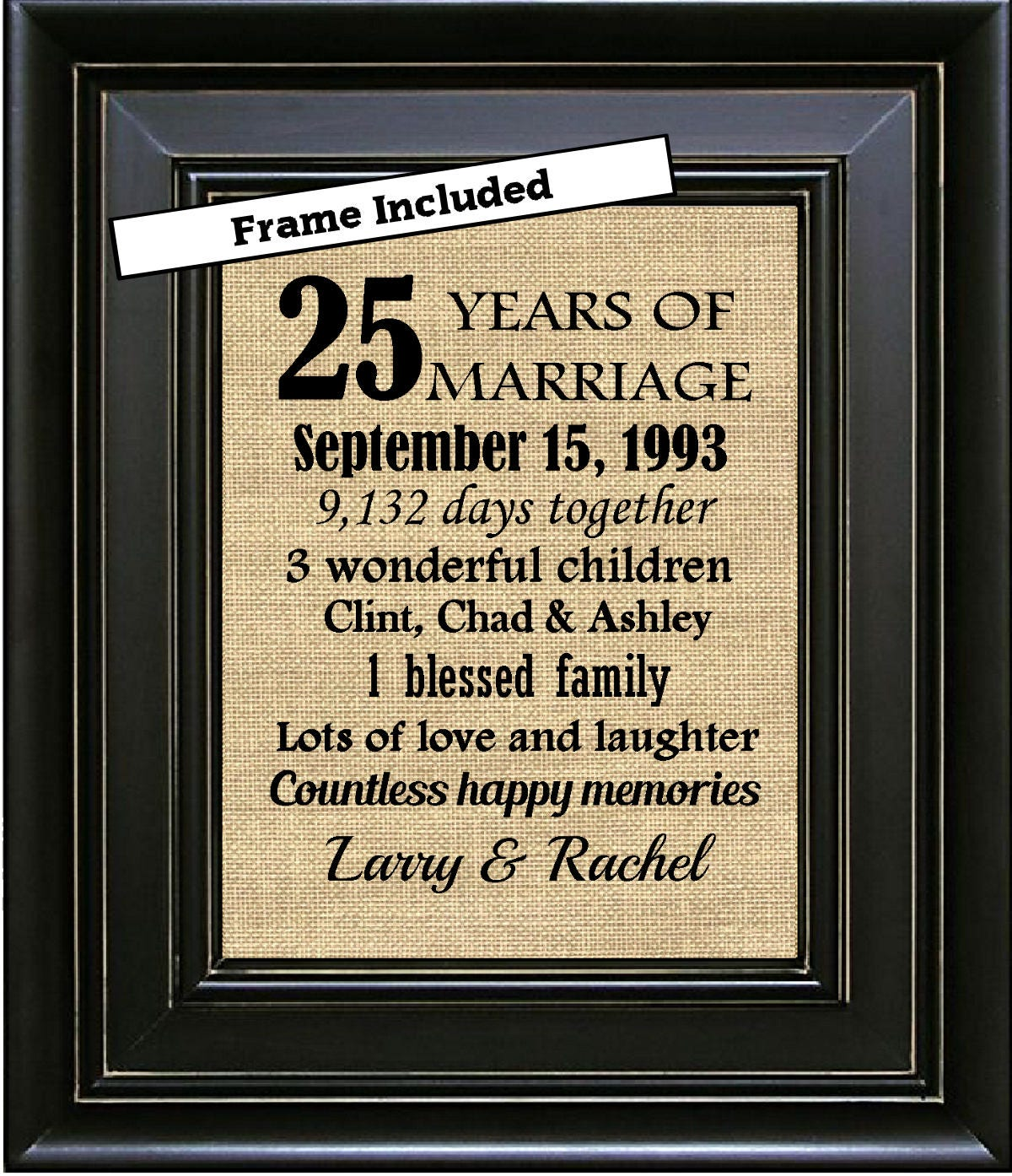 25th Wedding Anniversary Gifts: FRAMED Personalized 25th Anniversary Gift/25th Wedding