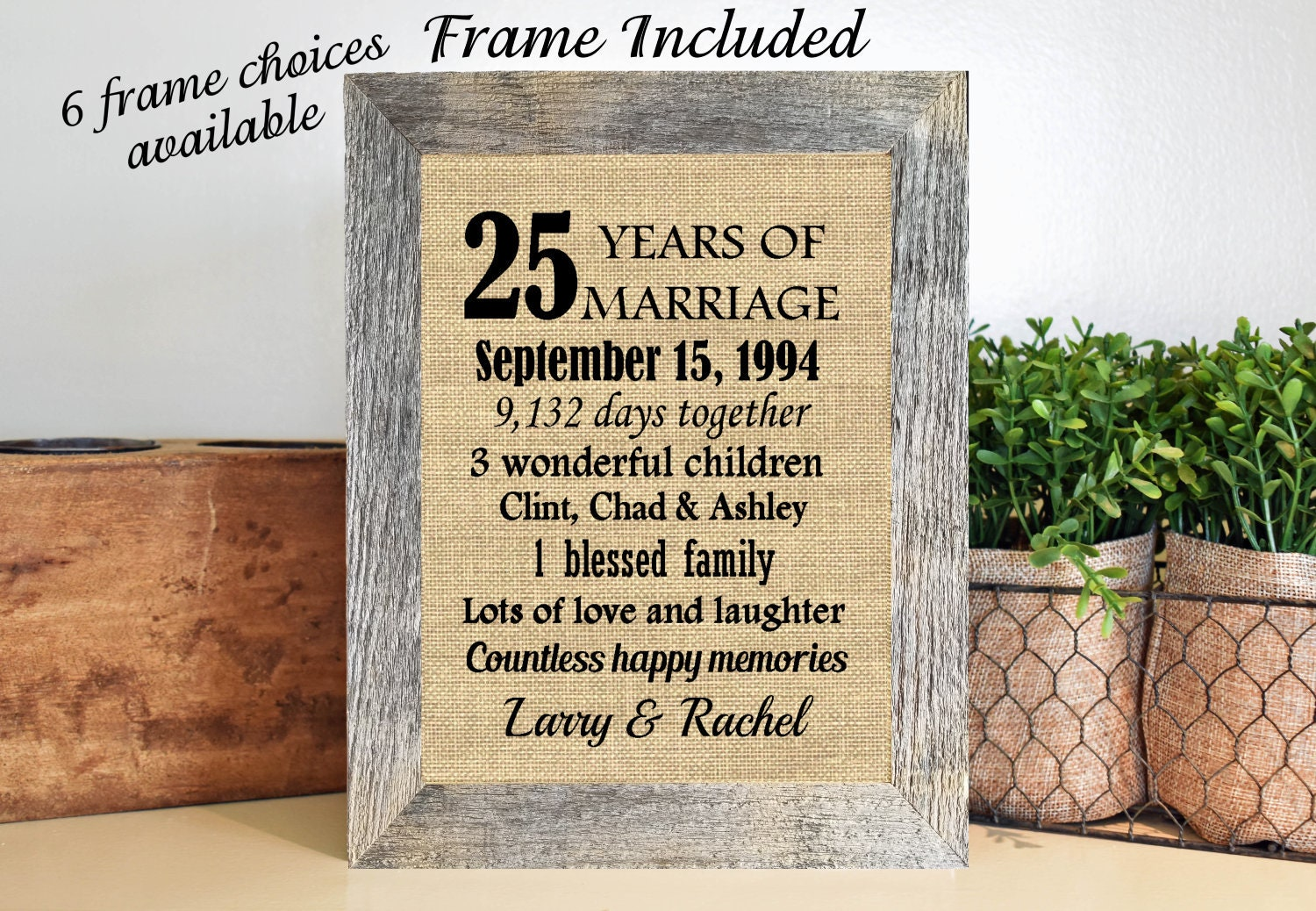 25th Anniversary Wedding Gifts: FRAMED 25th Anniversary Gift/25th Wedding Anniversary