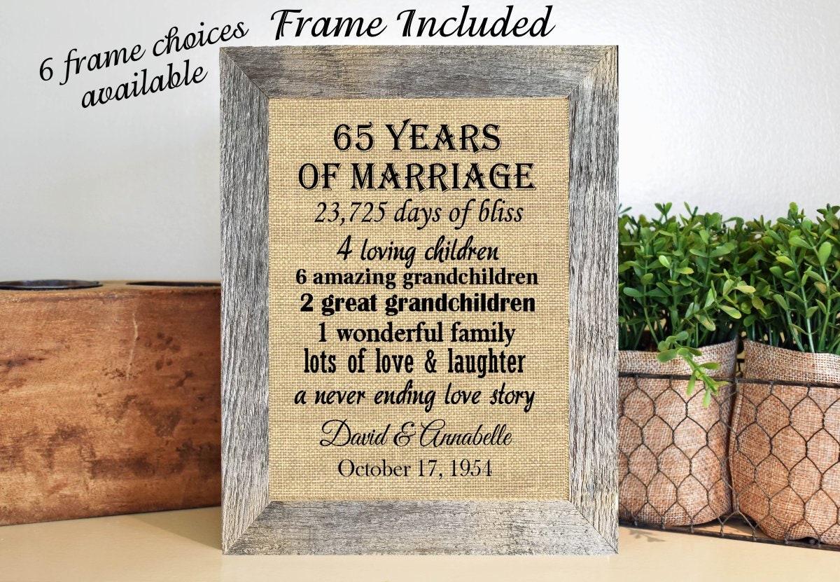 65th Wedding Anniversary Gift Ideas: FRAMED 65th Wedding Anniversary Gift/65th Anniversary