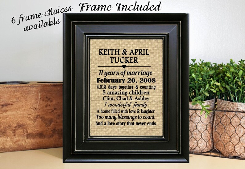 Framed Personalized 11th Wedding Anniversary Gifts11th Etsy