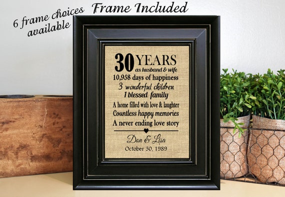 Framed Personalized 30th Wedding Anniversary Gift30th Etsy