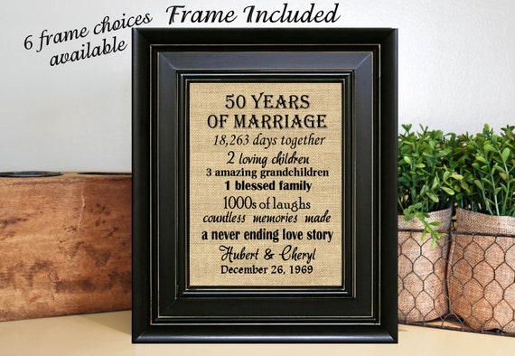 Framed 50th Wedding Anniversary50th Anniversary Gifts50th Etsy