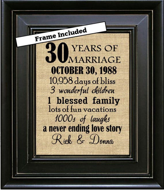 Framed 30th Wedding Anniversary Gift 30th Anniversary Gifts Etsy