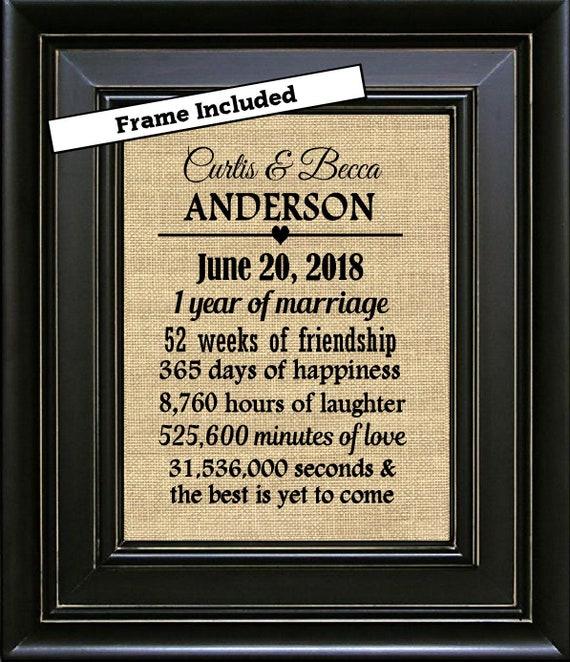 Framed 1st Wedding Anniversary Gift 1st Anniversary Gift For Etsy