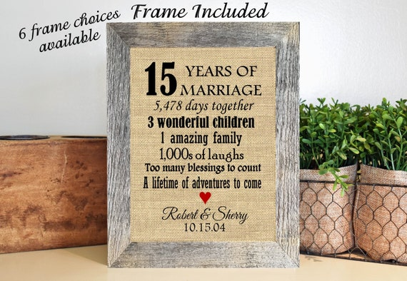 Framed 15th Wedding Anniversary Gift15th Anniversary Etsy