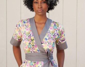 Floral Wrap Dress, Kimono Dress, Dress with Pockets, Midi Wrap Dress, Liberty London, Short Sleeve Midi Dress, Liberty Dress, Made To Order