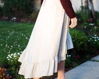 Wrap Midi Skirt, High Low Skirt, Long Wrap Skirt, Ruffle Skirt, Long A Line Skirt, Flamenco Skirt, Grey Skirt, Wrap Maxi Skirt, Made ToOrder