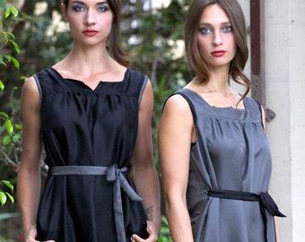 Loose Fitting Dress, Dress with Pockets, Sleeveless  Shift Dress, Silk Dress, Short Black Dress, Jumper Dress, Loose Dress, Made To Order