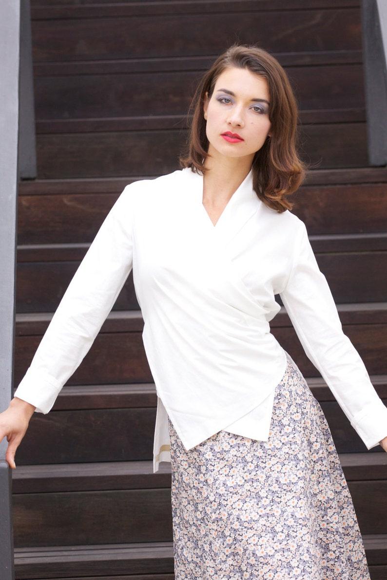 8e56925692e00 Kimono Shirt White Wrap Blouse White Cotton Blouse Wrap