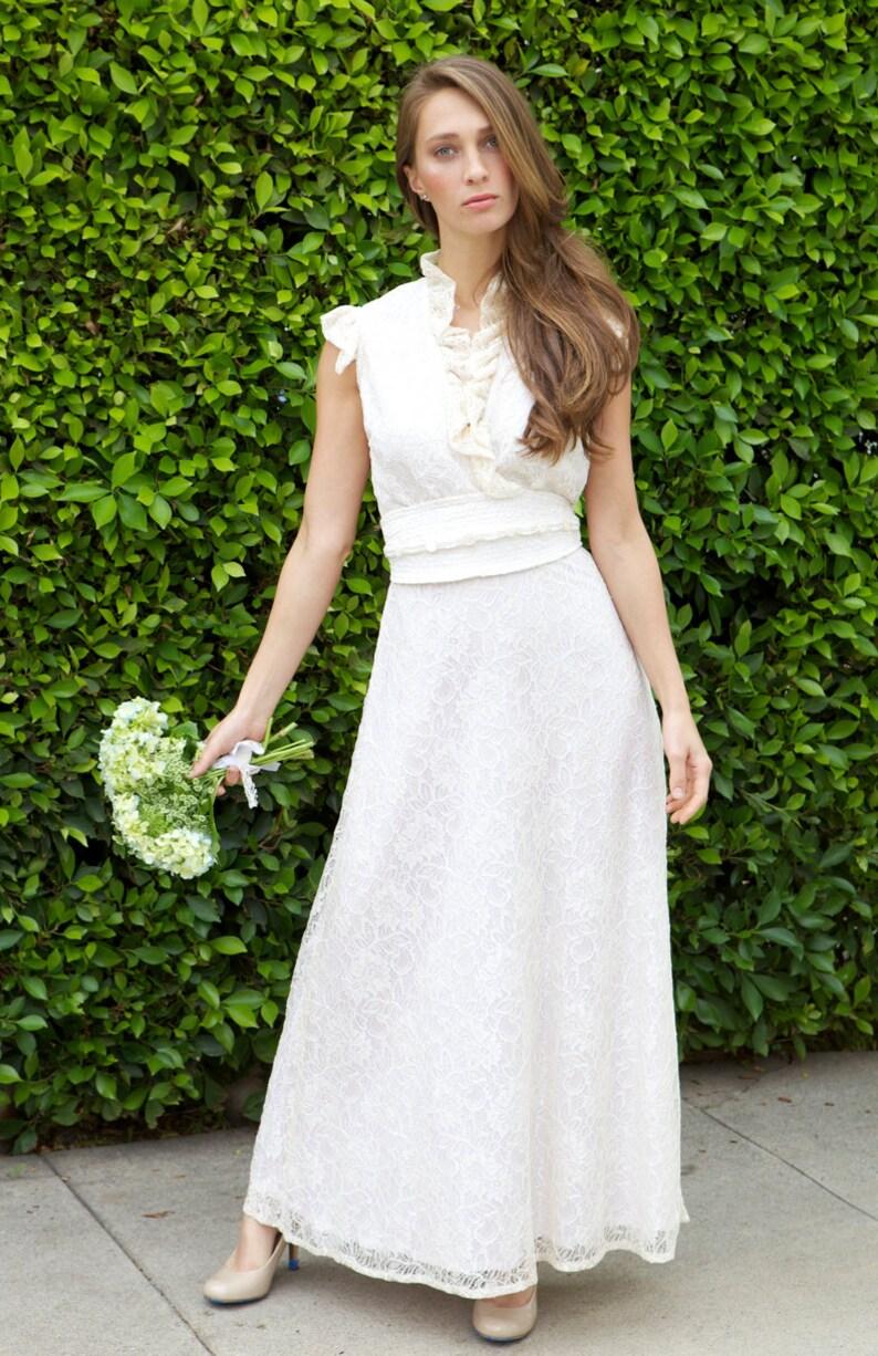 22cc6d0c77 Boho Lace Wedding Dress Ruffle Wedding Dress Ivory Lace | Etsy