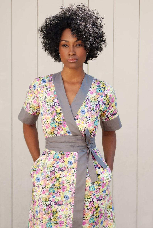 ce8c1f83ae Midi Wrap Dress, Kimono Dress, Midi Dress with Sleeves, Floral Wrap Dress,  Dress with Pockets, Liberty of London Print Dress, Made To Order