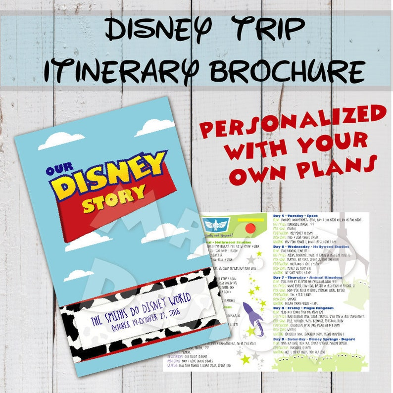 Disney Trip Itinerary Plans Brochure - Toy Story Theme - Custom Plans and  Design for your vacation at Disney World or Disney Land , holiday