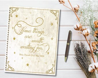 """Custom Pregnancy Journal with planned pages, """"Some things are worth waiting for"""" Stars Baby Planner, checklists, notes, memories, fairytale"""