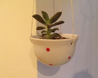 Small Hanging Planter - Red Dot (no pant)- READY TO SHIP