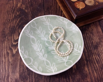 Jewelry Dish - sage - Soap Dish Dessert Plate Hand-built Fine Porcelain Ceramic by Alison Ostergaard- Made To Order