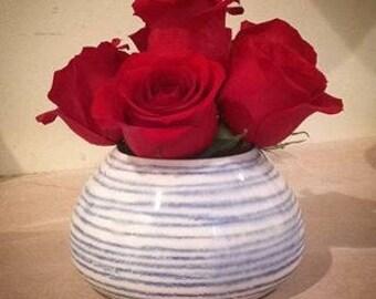 Ikebana - Low Vase -Blue Stripes- w Flower Frog Kenzan - MADE TO ORDER