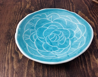 Jewelry Dish Soap Dish Dessert Plate decorative Hand-built Fine Porcelain Turquise- MADE TO ORDER