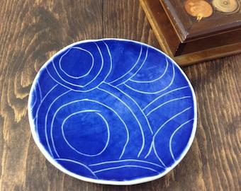 Jewelry Dish - Cobalt Blue- Soap Dish Dessert Plate decorative Hand-built Fine Porcelain Cobalt Blue Circles - Made To Order