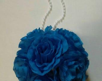 "Royal Blue Rose Flower Pomander Kissing Ball 6.5"" to 7"" Pew Bow / Bouquet / Centerpiece Decor"
