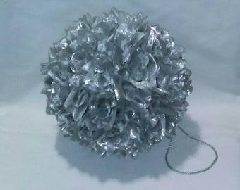 "Metallic Silver 9"" Rose Flower Pomander Kissing Ball - Pew Bow / Bouquet / Decor"