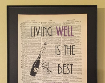 Living well is the best revenge; Dictionary Print; Page Art; Dorothy Parker