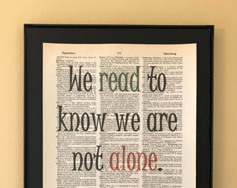 We read to know we are not alone; C. S. Lewis quote; Little Women; Gifts for readers;