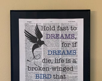 Hold fast to dreams; Langston Hughes quote; Literary Art; Literary gift;