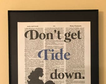 Don't get Tied Down; Mermaid; Beach house; Dictionary Print; Page Art;