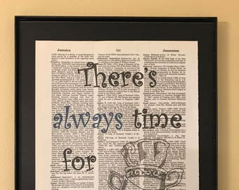 There's always time for tea;  Kitchen decor; Dictionary Print; Page Art