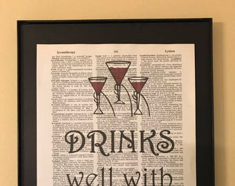 Drinks well with others; Dictionary Print; Page Art;