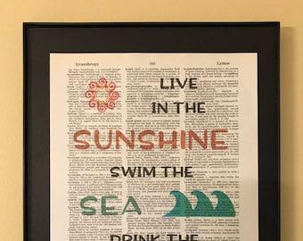 Live in the sunshine swim the sea drink the wild air; Ralph Waldo Emerson; Beach house; Dictionary Print; Page Art;