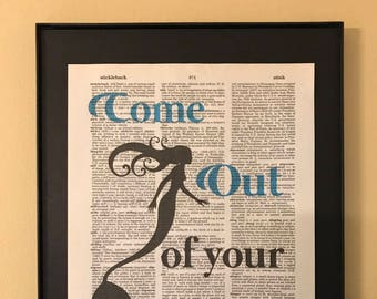 Come out of your shell; Mermaid; Beach house; Dictionary Print; Page Art;
