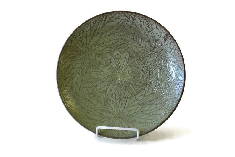Handmade Ceramic Rustic olive green Serving Plate Decorated image 0