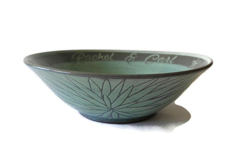 Customized Celadon Green Flower Serving Bowl with Couple's image 0