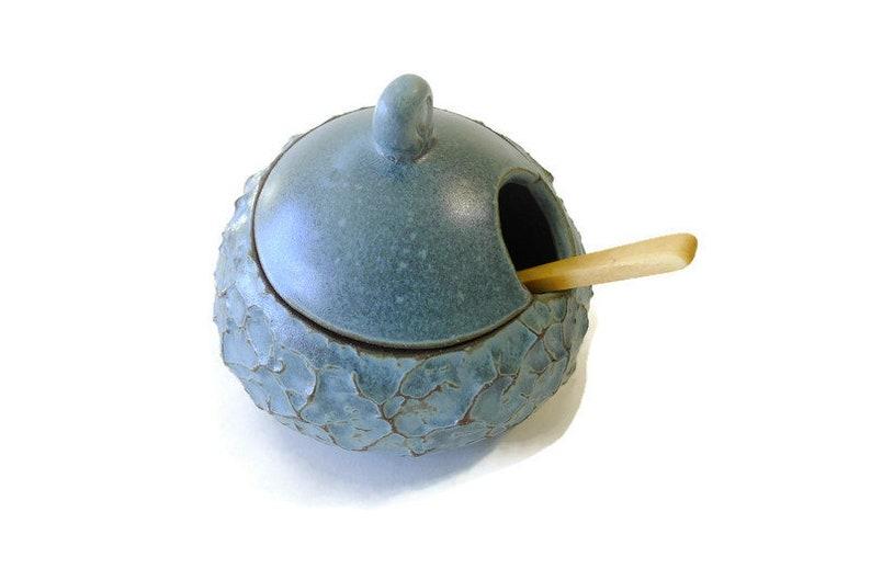 Ceramic Handmade BumpiLumpi Textured Blue Salt/Sugar Cellar image 0