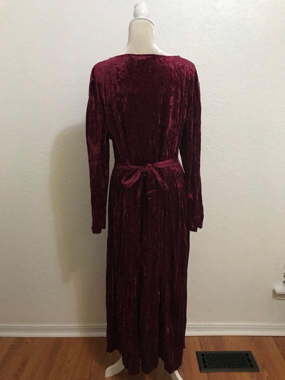 Vintage 1990's Maroon Long Sleeve Crushed Velvet … - image 3