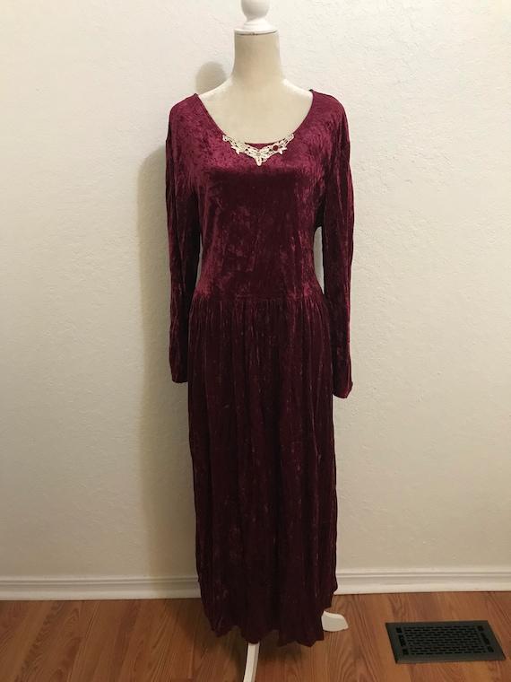 Vintage 1990's Maroon Long Sleeve Crushed Velvet … - image 1