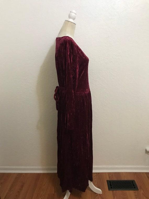 Vintage 1990's Maroon Long Sleeve Crushed Velvet … - image 2