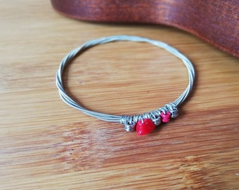 Guitar String Bracelet with Coral // Recycled Music Collection