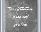 Cherokee Legend Wolf Quote Art Print 8 x 10 - The Wolf That Wins Is The Wolf You Feed - Visionary Artwork - Celestial - Mystical