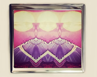 Psychedelic Moth Cigarette Case Business Card ID Holder Wallet Trippy Visionary Art Festival Accessory Two