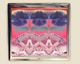 Psychedelic Moth Cigarette Case Business Card ID Holder Wallet Trippy Visionary Art Festival Accessory