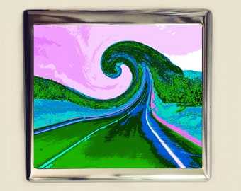 Psychedelic Road Cigarette Case Business Card ID Holder Wallet Trippy Surreal Spiral Visionary Pop Art Festival Accessory