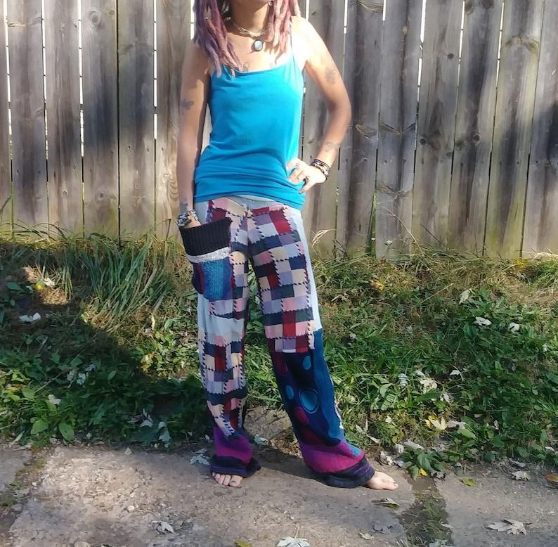 Handmade Patchwork Sweater Pants Checkered Sweater Pants Upcycled Womens Swants Upcycled Womens Patchwork Sweater Pants