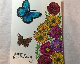 Sparkle Flower Birthday Card