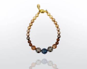 Bracelet 'Anne' I Swarovski crystal beads w magnetic clasp blue, bronze, gold