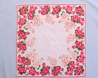 Handkerchief, Cheerful Red and Pink Flowers, Vintage, Very Pretty